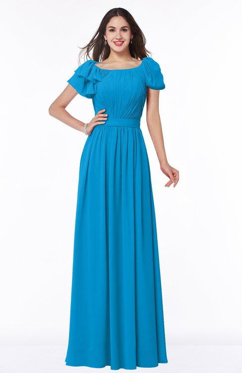ColsBM Thalia Cornflower Blue Mature A-line Zipper Chiffon Floor Length Plus Size Bridesmaid Dresses