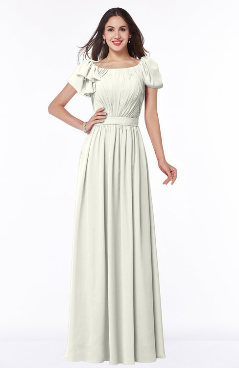 ColsBM Thalia Cream Mature A-line Zipper Chiffon Floor Length Plus Size Bridesmaid Dresses