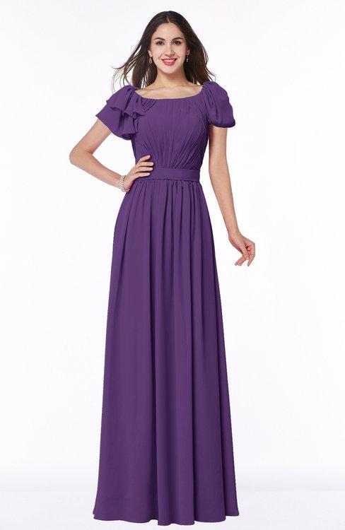 ColsBM Thalia Dark Purple Mature A-line Zipper Chiffon Floor Length Plus Size Bridesmaid Dresses