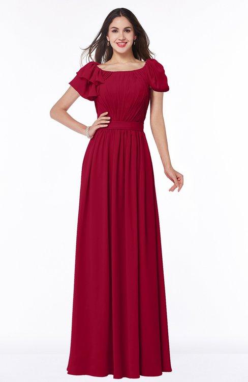 ColsBM Thalia Dark Red Mature A-line Zipper Chiffon Floor Length Plus Size Bridesmaid Dresses