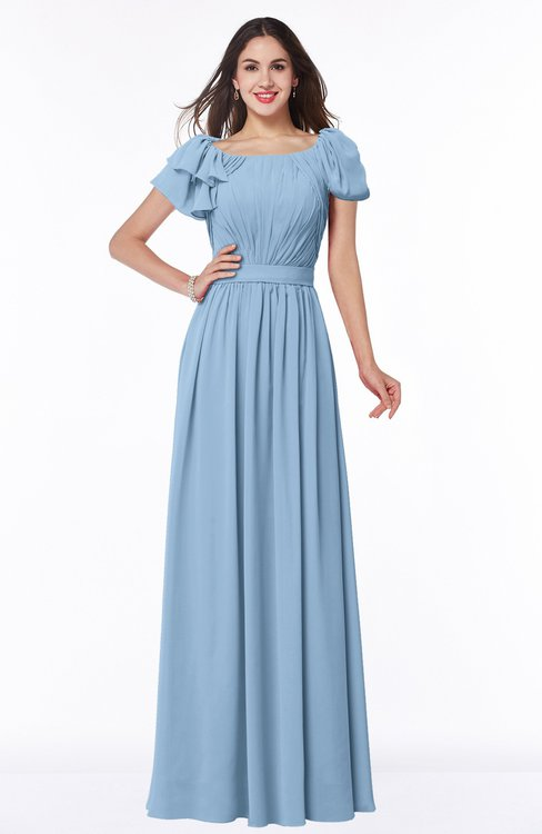 ColsBM Thalia Dusty Blue Mature A-line Zipper Chiffon Floor Length Plus Size Bridesmaid Dresses