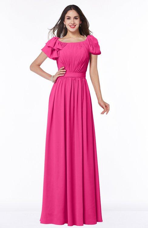 ColsBM Thalia Fandango Pink Mature A-line Zipper Chiffon Floor Length Plus Size Bridesmaid Dresses