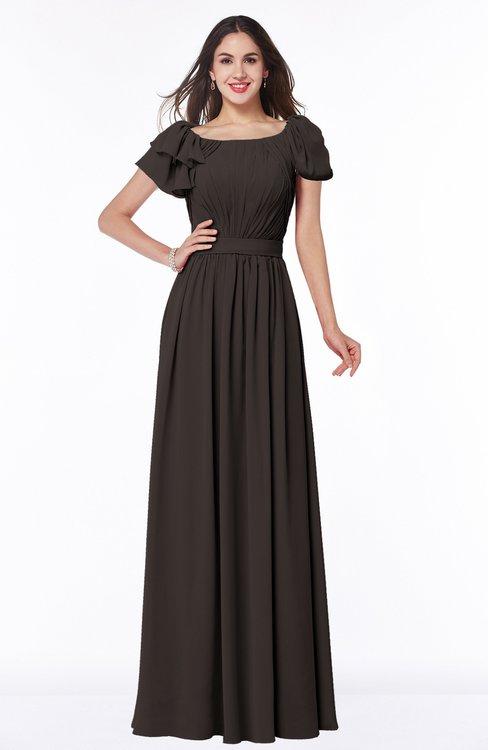 ColsBM Thalia Fudge Brown Mature A-line Zipper Chiffon Floor Length Plus Size Bridesmaid Dresses