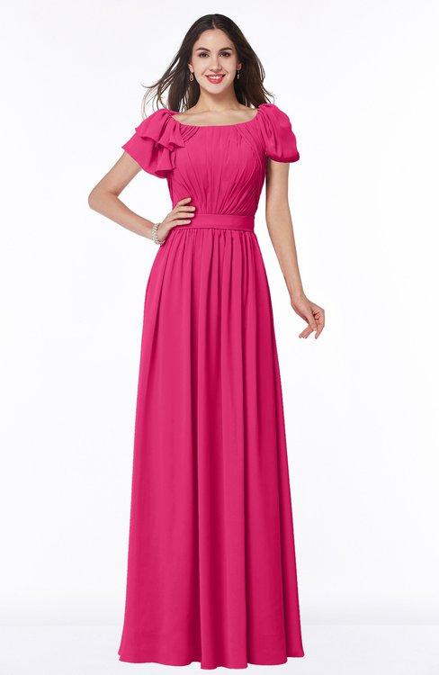 ColsBM Thalia Fuschia Mature A-line Zipper Chiffon Floor Length Plus Size Bridesmaid Dresses