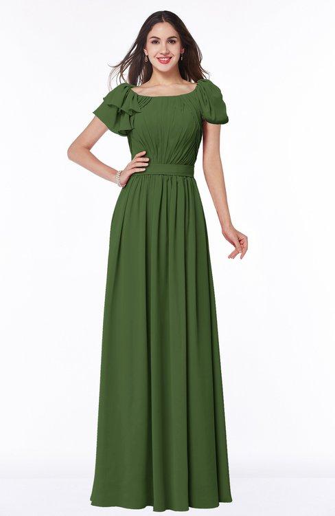 ColsBM Thalia Garden Green Mature A-line Zipper Chiffon Floor Length Plus Size Bridesmaid Dresses