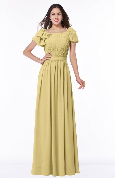 ColsBM Thalia Gold Mature A-line Zipper Chiffon Floor Length Plus Size Bridesmaid Dresses