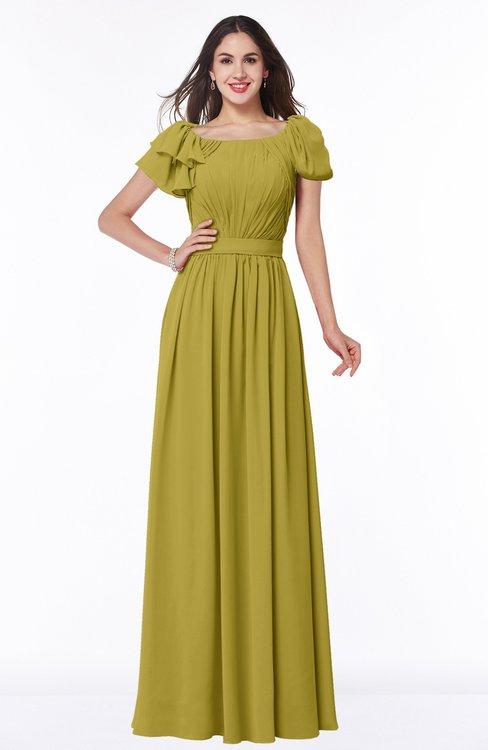 ColsBM Thalia Golden Olive Mature A-line Zipper Chiffon Floor Length Plus Size Bridesmaid Dresses