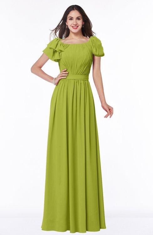 ColsBM Thalia Green Oasis Mature A-line Zipper Chiffon Floor Length Plus Size Bridesmaid Dresses