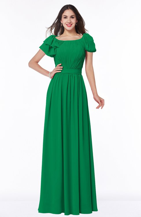 ColsBM Thalia Green Mature A-line Zipper Chiffon Floor Length Plus Size Bridesmaid Dresses