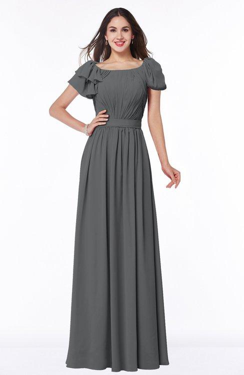 ColsBM Thalia Grey Mature A-line Zipper Chiffon Floor Length Plus Size Bridesmaid Dresses