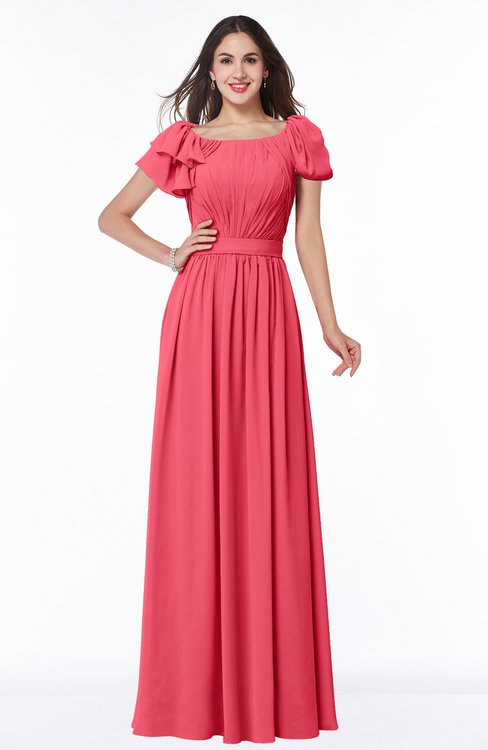 ColsBM Thalia Guava Mature A-line Zipper Chiffon Floor Length Plus Size Bridesmaid Dresses