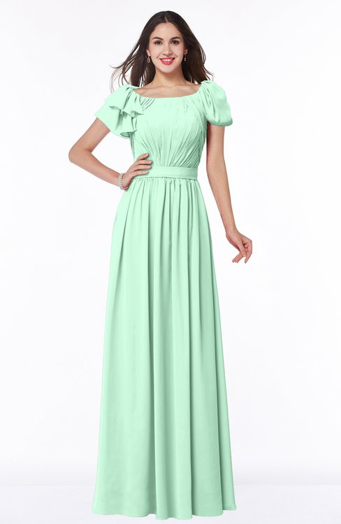 ColsBM Thalia Honeydew Mature A-line Zipper Chiffon Floor Length Plus Size Bridesmaid Dresses