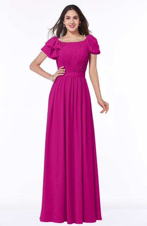 ColsBM Thalia Hot Pink Mature A-line Zipper Chiffon Floor Length Plus Size Bridesmaid Dresses