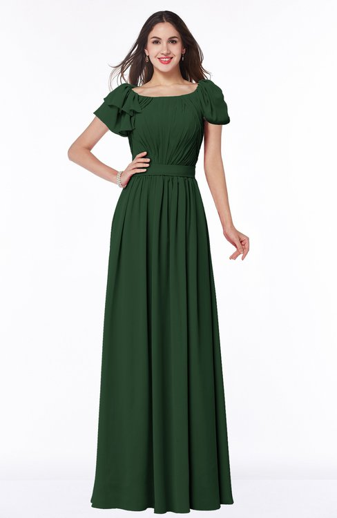 ColsBM Thalia Hunter Green Mature A-line Zipper Chiffon Floor Length Plus Size Bridesmaid Dresses