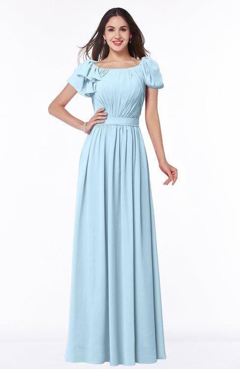 ColsBM Thalia Ice Blue Mature A-line Zipper Chiffon Floor Length Plus Size Bridesmaid Dresses
