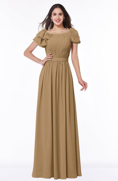 ColsBM Thalia Indian Tan Mature A-line Zipper Chiffon Floor Length Plus Size Bridesmaid Dresses