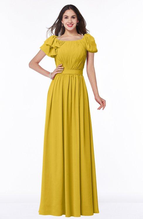 ColsBM Thalia Lemon Curry Mature A-line Zipper Chiffon Floor Length Plus Size Bridesmaid Dresses