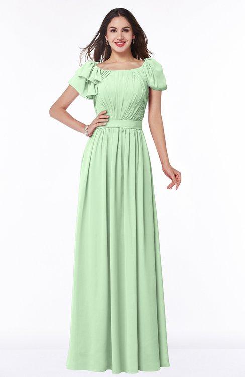 ColsBM Thalia Light Green Mature A-line Zipper Chiffon Floor Length Plus Size Bridesmaid Dresses