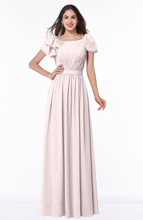 ColsBM Thalia Light Pink Mature A-line Zipper Chiffon Floor Length Plus Size Bridesmaid Dresses