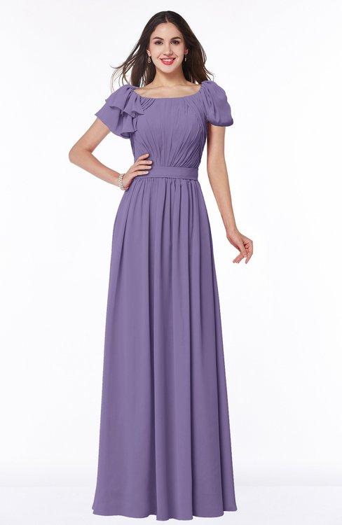 ColsBM Thalia Lilac Mature A-line Zipper Chiffon Floor Length Plus Size Bridesmaid Dresses