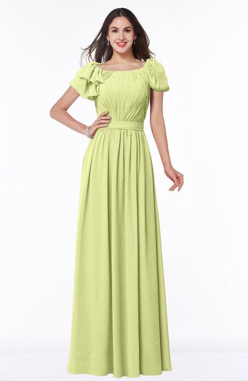 ColsBM Thalia Lime Green Mature A-line Zipper Chiffon Floor Length Plus Size Bridesmaid Dresses