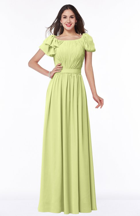 ColsBM Thalia Lime Sherbet Mature A-line Zipper Chiffon Floor Length Plus Size Bridesmaid Dresses