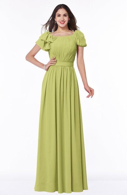 ColsBM Thalia Linden Green Mature A-line Zipper Chiffon Floor Length Plus Size Bridesmaid Dresses
