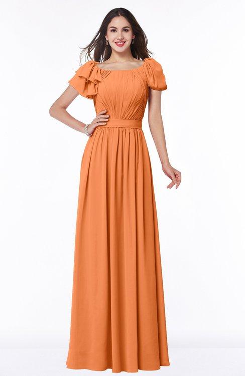 ColsBM Thalia Mango Mature A-line Zipper Chiffon Floor Length Plus Size Bridesmaid Dresses