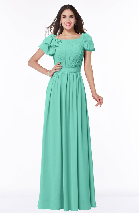 ColsBM Thalia Mint Green Mature A-line Zipper Chiffon Floor Length Plus Size Bridesmaid Dresses