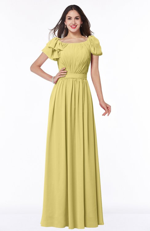 ColsBM Thalia Misted Yellow Mature A-line Zipper Chiffon Floor Length Plus Size Bridesmaid Dresses