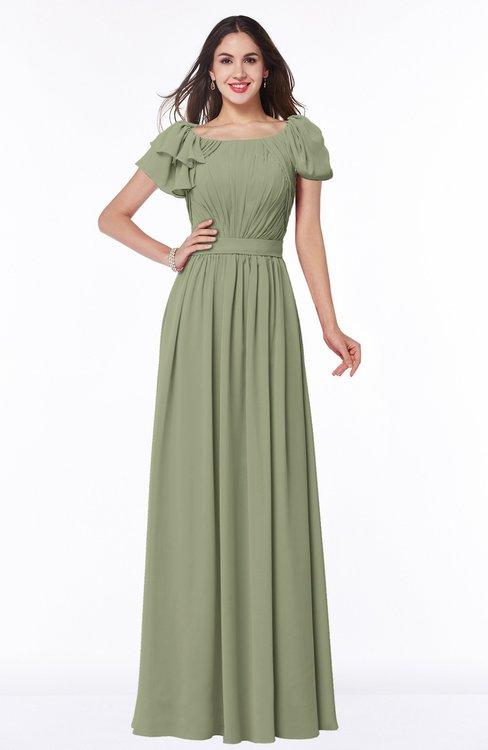 ColsBM Thalia Moss Green Mature A-line Zipper Chiffon Floor Length Plus Size Bridesmaid Dresses