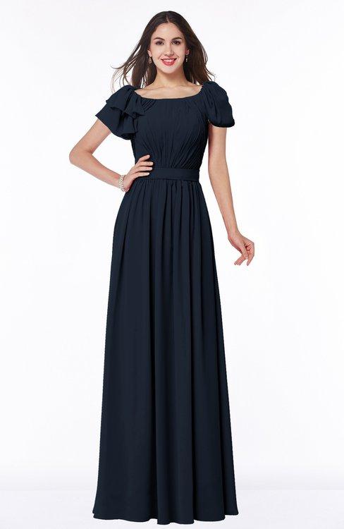 ColsBM Thalia Navy Blue Mature A-line Zipper Chiffon Floor Length Plus Size Bridesmaid Dresses