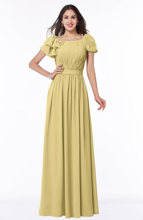 ColsBM Thalia New Wheat Mature A-line Zipper Chiffon Floor Length Plus Size Bridesmaid Dresses