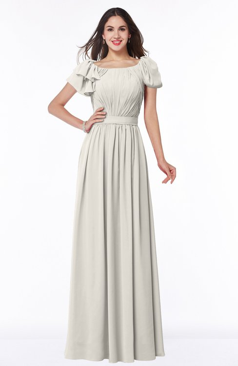 ColsBM Thalia Off White Mature A-line Zipper Chiffon Floor Length Plus Size Bridesmaid Dresses
