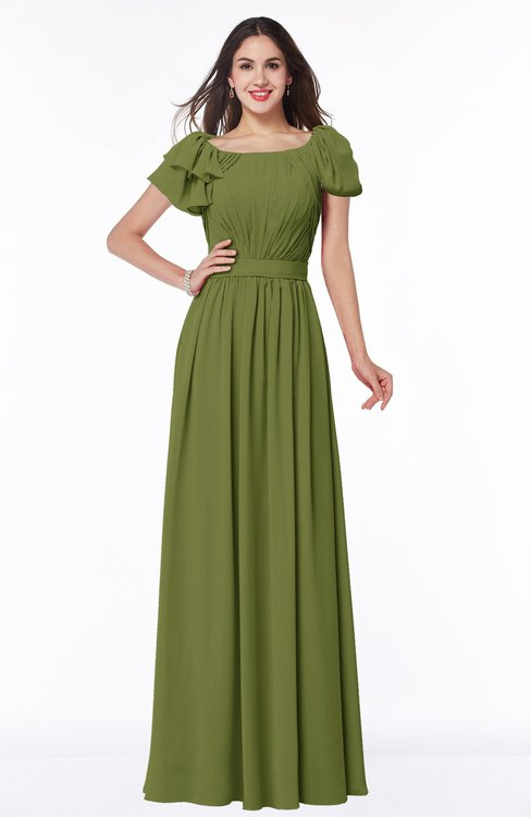 ColsBM Thalia Olive Green Mature A-line Zipper Chiffon Floor Length Plus Size Bridesmaid Dresses