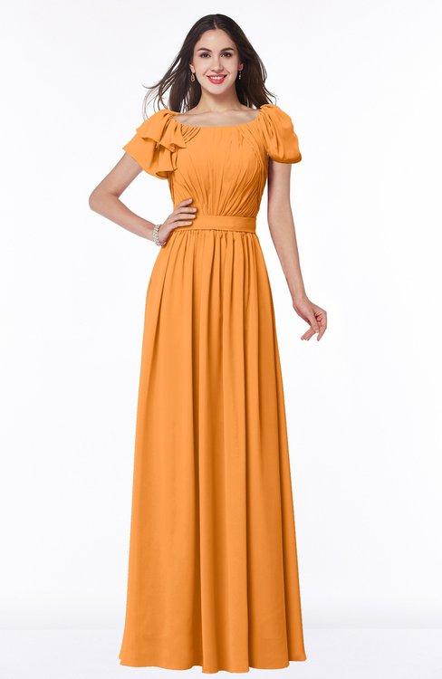 ColsBM Thalia Orange Mature A-line Zipper Chiffon Floor Length Plus Size Bridesmaid Dresses
