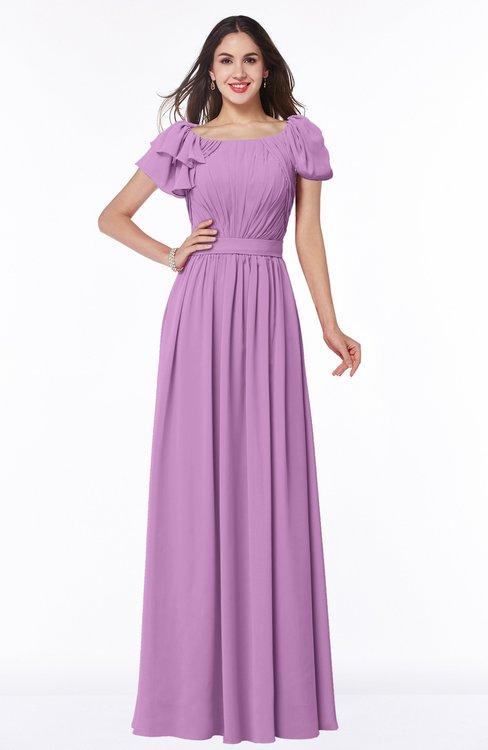 ColsBM Thalia Orchid Mature A-line Zipper Chiffon Floor Length Plus Size Bridesmaid Dresses