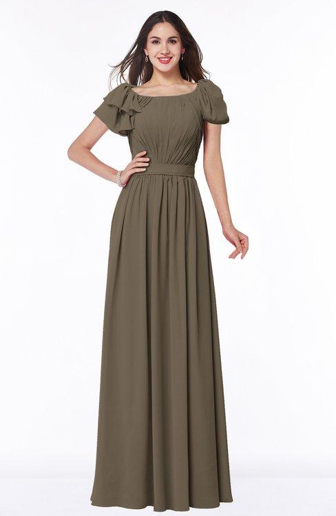 ColsBM Thalia Otter Mature A-line Zipper Chiffon Floor Length Plus Size Bridesmaid Dresses