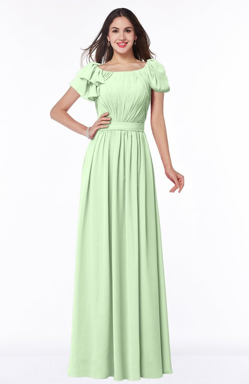 ColsBM Thalia Pale Green Mature A-line Zipper Chiffon Floor Length Plus Size Bridesmaid Dresses