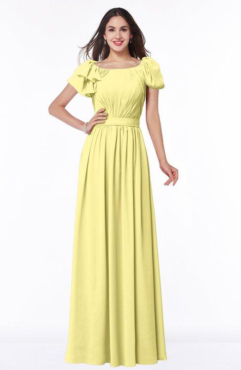 ColsBM Thalia Pastel Yellow Mature A-line Zipper Chiffon Floor Length Plus Size Bridesmaid Dresses