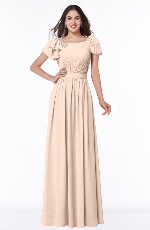 ColsBM Thalia Peach Puree Mature A-line Zipper Chiffon Floor Length Plus Size Bridesmaid Dresses