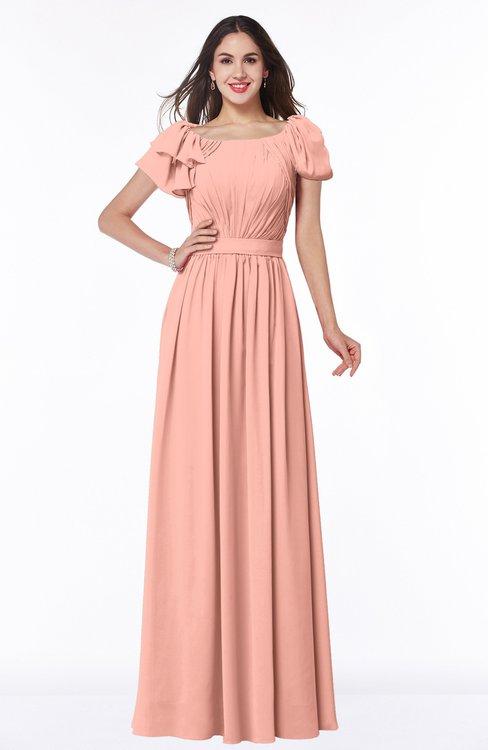 ColsBM Thalia Peach Mature A-line Zipper Chiffon Floor Length Plus Size Bridesmaid Dresses