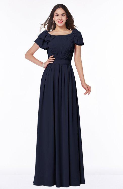 ColsBM Thalia Peacoat Mature A-line Zipper Chiffon Floor Length Plus Size Bridesmaid Dresses