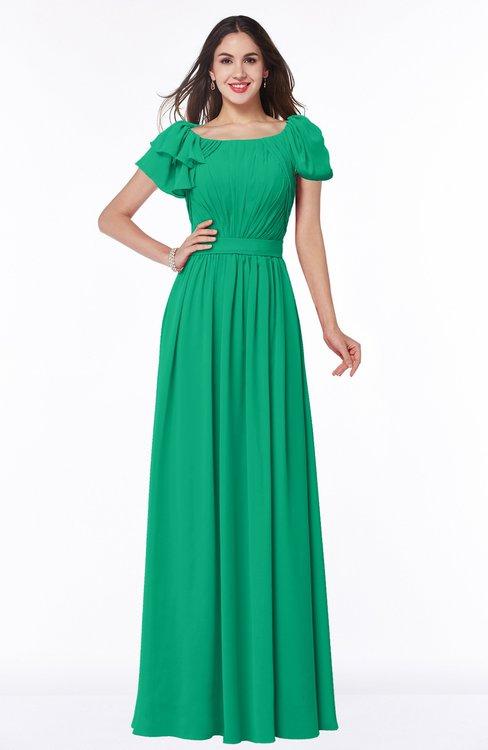 ColsBM Thalia Pepper Green Mature A-line Zipper Chiffon Floor Length Plus Size Bridesmaid Dresses