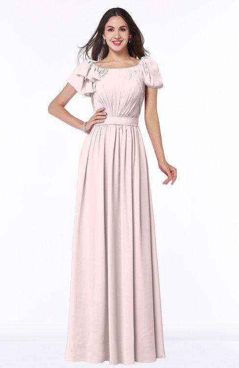 ColsBM Thalia Petal Pink Mature A-line Zipper Chiffon Floor Length Plus Size Bridesmaid Dresses