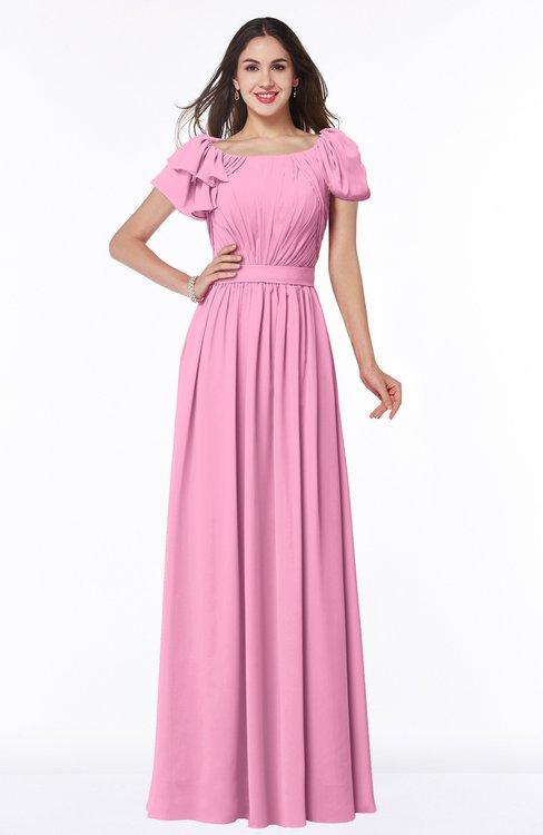 ColsBM Thalia Pink Mature A-line Zipper Chiffon Floor Length Plus Size Bridesmaid Dresses