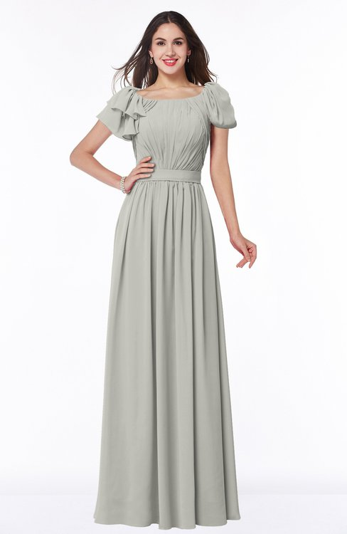 ColsBM Thalia Platinum Mature A-line Zipper Chiffon Floor Length Plus Size Bridesmaid Dresses