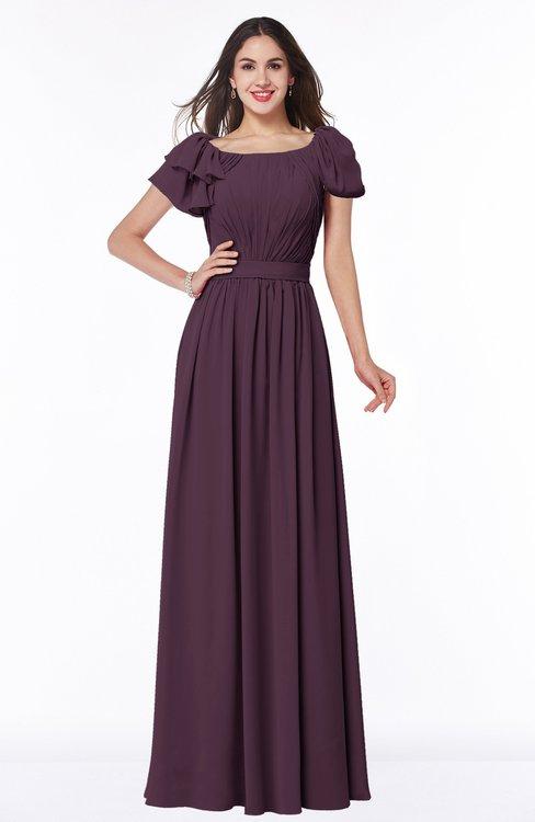 ColsBM Thalia Plum Mature A-line Zipper Chiffon Floor Length Plus Size Bridesmaid Dresses