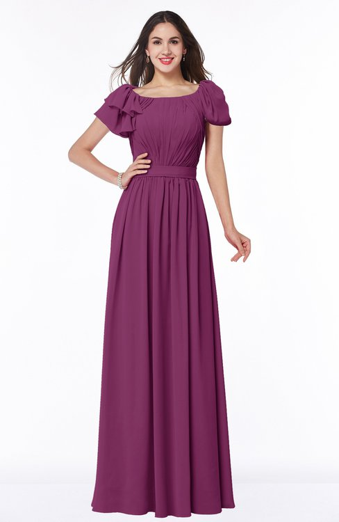 ColsBM Thalia Raspberry Mature A-line Zipper Chiffon Floor Length Plus Size Bridesmaid Dresses