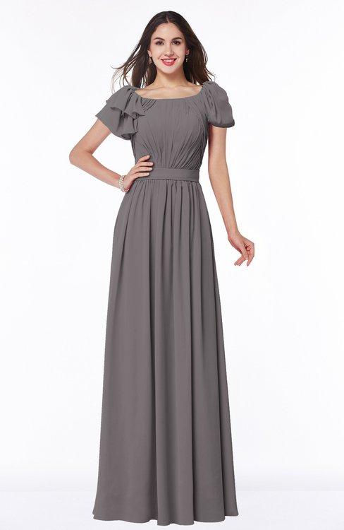 ColsBM Thalia Ridge Grey Mature A-line Zipper Chiffon Floor Length Plus Size Bridesmaid Dresses